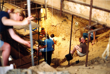 Archaeologists excavating in the Arago Cave