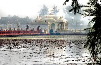 Hindu temple at water's edge