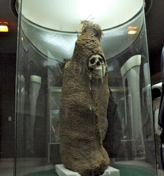 mummy in museum display