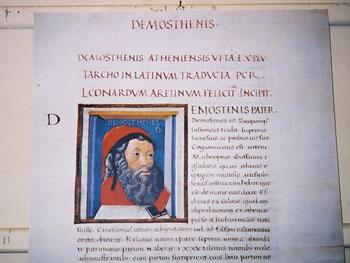 Demosthenis illuminated book page