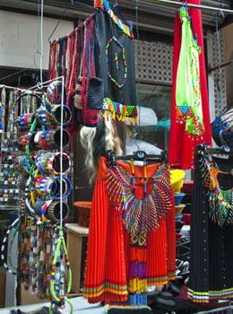 colorful souvenirs in Durban shop