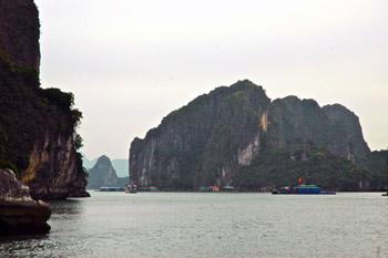 boat near islands