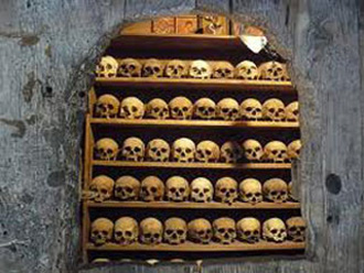 human skulls in charnel house at Grand Meteora
