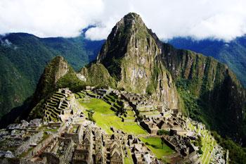 Huayna Picchu mountain behind the Machu Picchu citadel