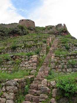 looking up towards Pisac citadel