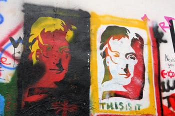Paintings on John Lennon wall