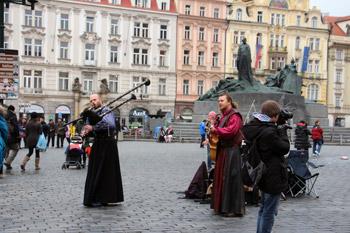 bagpipe player busking in Prague
