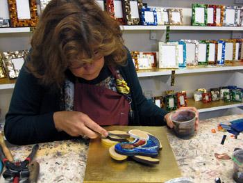 Mosaic artist at work