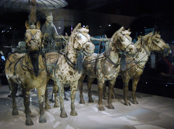 bronze chariot and four horses