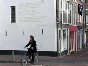 wall poem in Leiden, the Netherlands