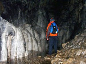 the author inside Spar Cave, Skye