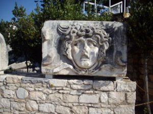 Medusa anguished face carving at Didyma