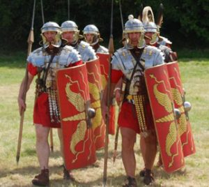 reenactment of Roman soldiers
