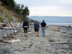 walking on Quadra Island beach