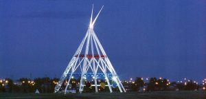 Medicine Hat Teepee at night