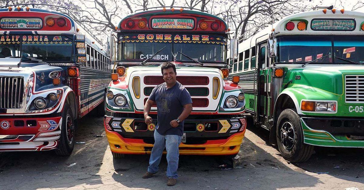 Guatemala chicken buses and driver