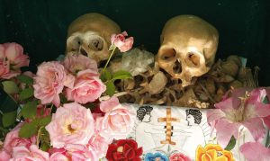 skulls of ancestors displayed on Day of the Dead