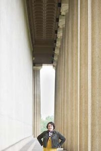Nanette Peraino at Parthenon entrance