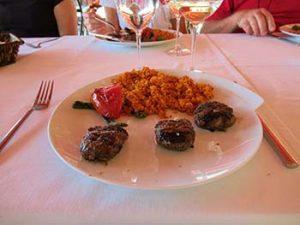kofte balls with tomato pilaf