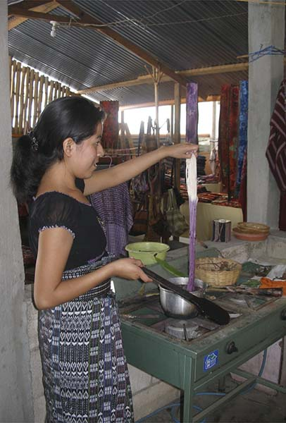 Coloring wool at women's cooperative
