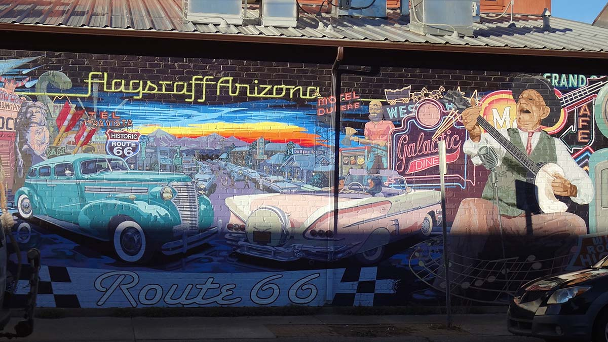 Route 66 mural in Flagstaff