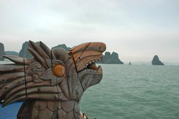 a carved dragon at Halong Bay