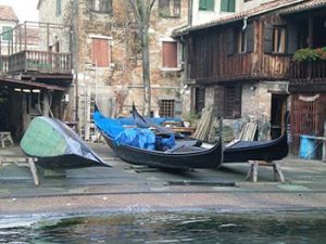 gondolas out of water