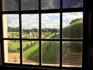 View through window of Privy Garden