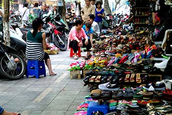 Hanoi old quarter street of shoes