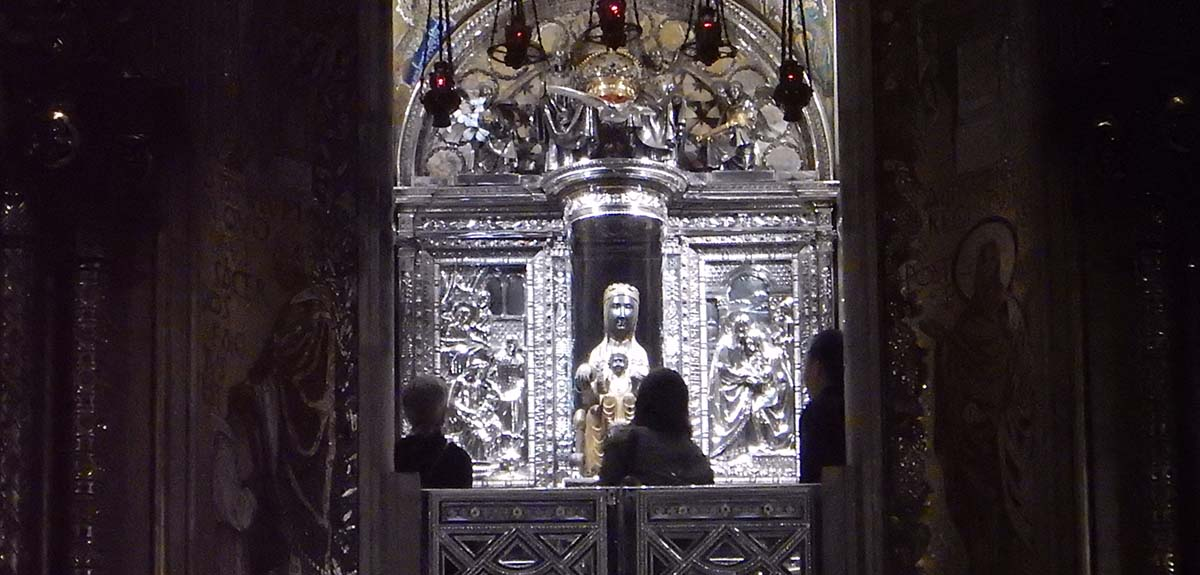 Black madonna in Sanctuary of Our Lady, Montserrat, Spain