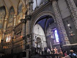 pilgrims climb stairs to see icon