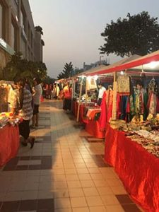 Stalls selling art and crafts, clothes and jewelry