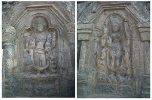 wall carvings of Hindu god and goddess