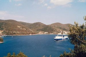 ferry arriving at Ithaka