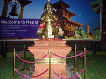 Buddha statue at Kathmandu airport