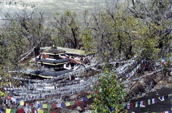 prayer flags surround pagoda