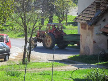 tractor in Slovenian village