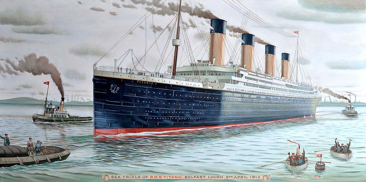 Titanic sea trials illustration