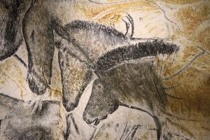 painting of horses in Chauvet cave