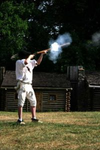 firing a vintage flintlock musket at Fort Boonesborough