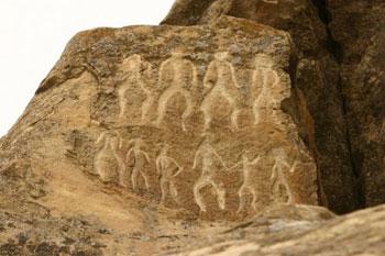 ancient rock art in Gobustan, Azerbaijan