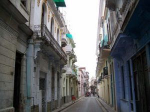 narrow street in Havana