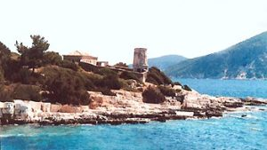 ruins of castle on Kefalonia shore