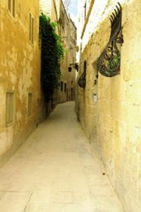 narrow, curved Mdina street