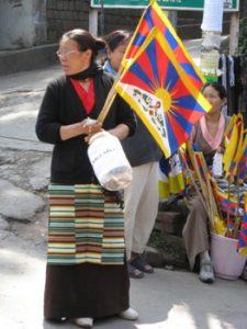 vendor selling Tibetan flags