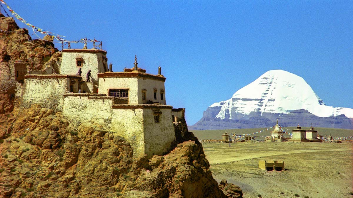 Mount Kailash, a Tibetan monastery and Buddhist prayer flags