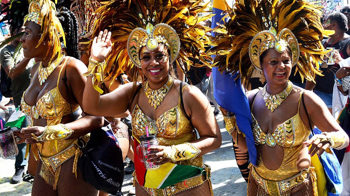 women dancing in Notting Hill Carnival