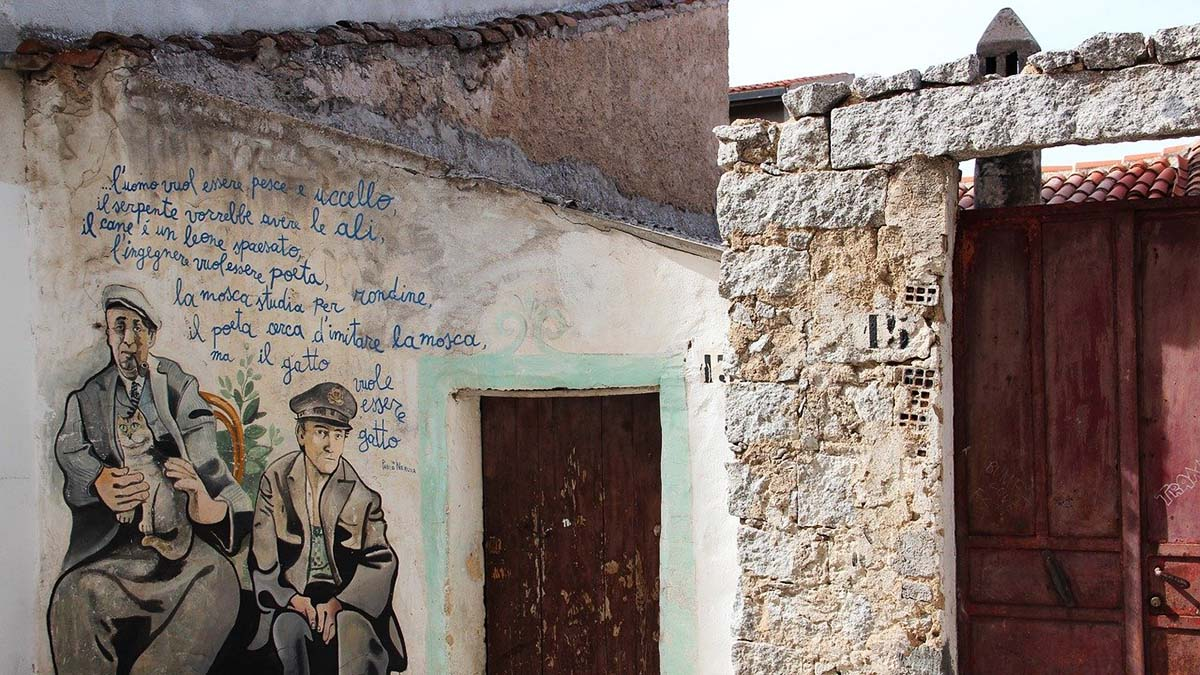 mural on wall in Orgosolo, Sardinia
