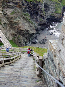 steep staircase leads to Tintagel Castle