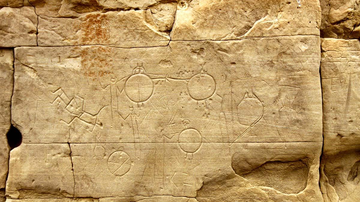 petroglyphs at Writing On Stone Provincial Park, Alberta